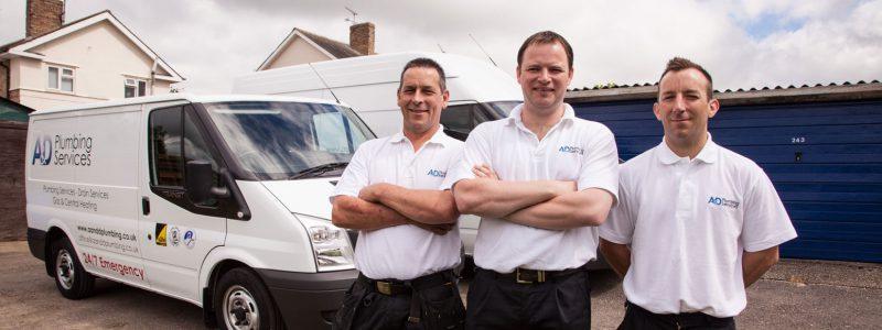 Three Oftec Oil Engineers outside their van