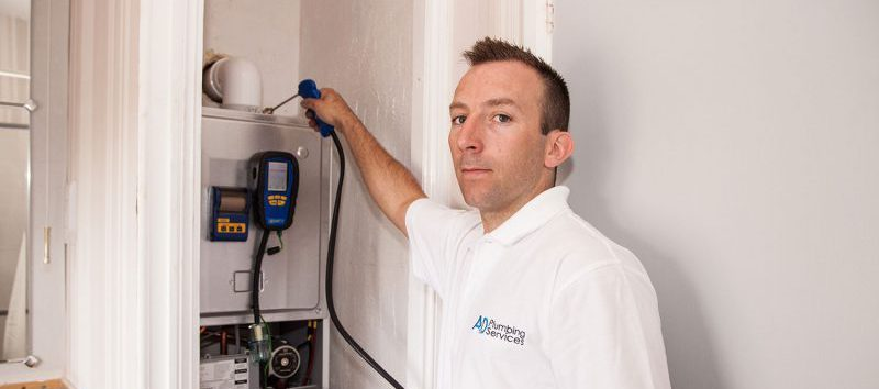 A&D Plumbing Services engineer completing a boiler test.